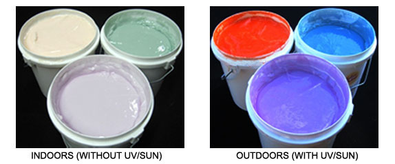 SolarActive UV color change screen print and transfer inks