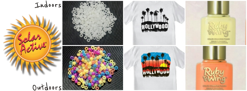 SolarActive® Color Changing t shirt, beads, and Ruby Wing™ nail polish that changes color in the sun