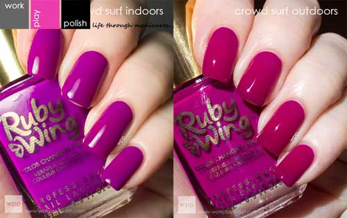Ruby Wing color changing nail polish works in all climates.