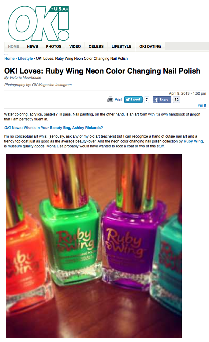 OK! Magazine Loves: Ruby Wing Neon Color Changing Nail Polish ...