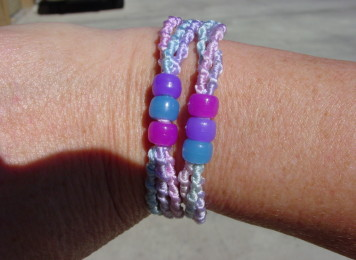 Friendship bracelet with bead outdoors